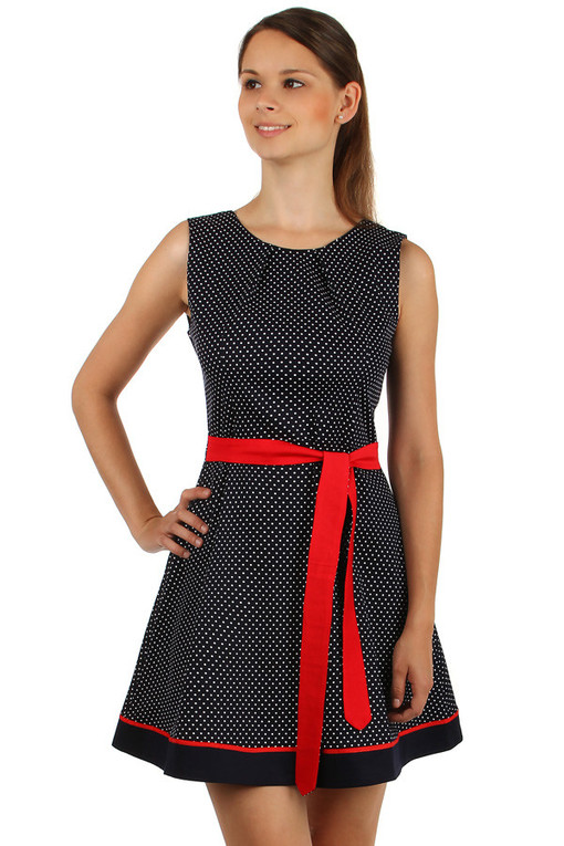 Polka dot dress with waistband