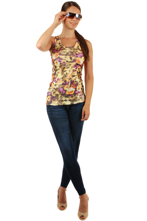 Women's summer flowered cotton tank top