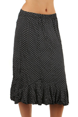 Women's elegant polka dot midi skirt with soft ruffles. Knee length, also suitable for full body, available up to 3XL.