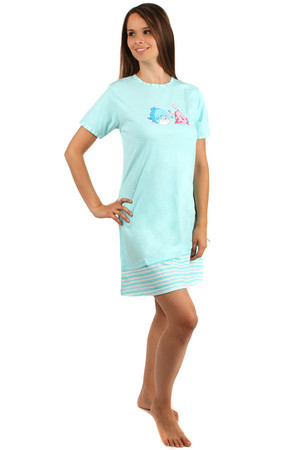 Nightgown with cute little fish and short sleeves. Comfortable material. The lower part is decorated with strips. Material: