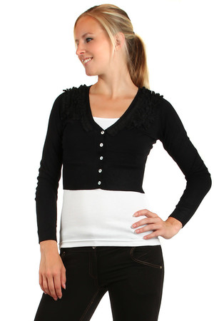 Sweater bolero, long sleeves and ruffles. Choice of many colors. Material: 30% cotton, 30% wool, 20% acrylic, 20% spandex.