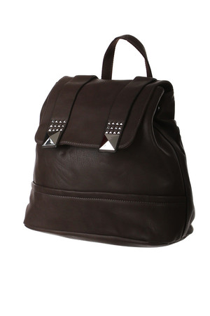 Practical backpack with pyramid rivets suitable for the city. Magnetic fastening and drawstring. In addition to the main