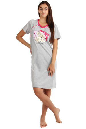 Printed and unzipped nightgown. Material: 100% cotton