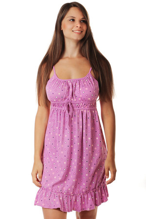 Nightgown with narrow straps and polka dots. Material: 100% cotton