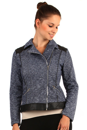Lined jacket with leatherette details and zipper on the side. Up to XXXL. Material: 65% polyester, 35% elastane