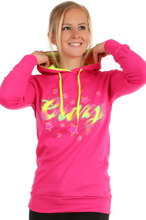 Color sweatshirt with crazy print. Different color inside the hood. Material: 97% cotton, 3% lycra. Import: Turkey