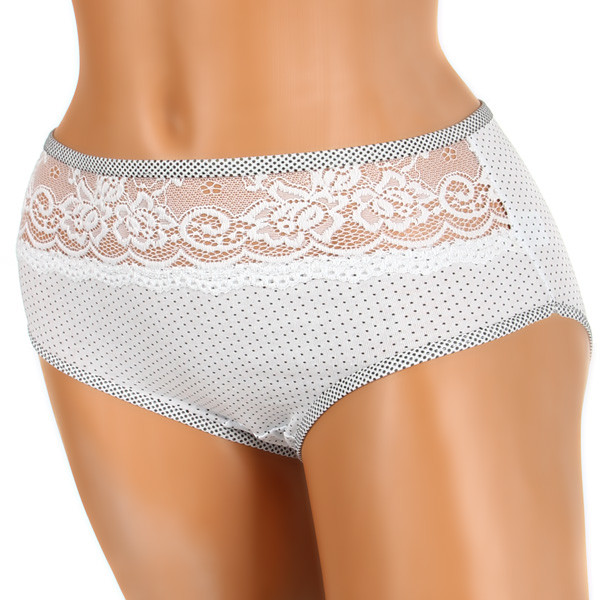 Women's cotton dotted panties with lace