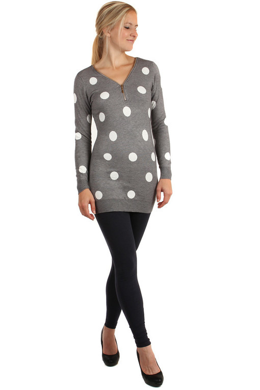 Longer women's polka-dot sweater