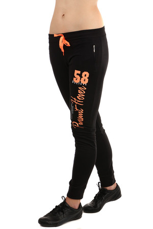 Sports women's tracksuit with neon print. Drawstring on the waist. Material: 80% cotton, 10% polyester, 10% spandex