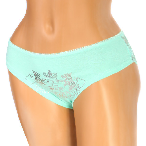 Cotton women's panties with transparent lace on the back