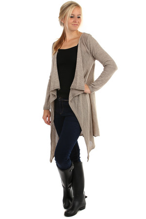 Long women's cardigan without fastening. Material: 65% acrylic, 25% nylon, 10% wool. Import: Italy