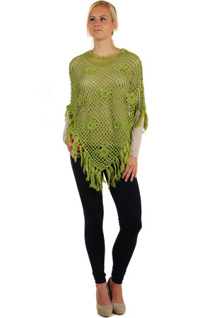 Unusual women's fishnet poncho decorated with flowers. Length 76cm + 11cm fringe Material: 100% acrylic