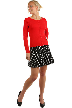 Cotton knitted skirt with a polka dot pattern. Also suitable for colder weather. Short length. Material: 94% cotton, 6%