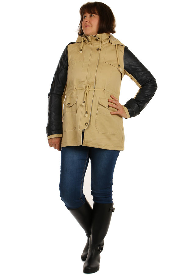 Women's zipped jacket with leatherette sleeves
