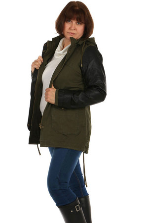 Women's jacket - parka with leatherette sleeves and hood. Zip fastening. The waist and bottom hem can be pulled with a