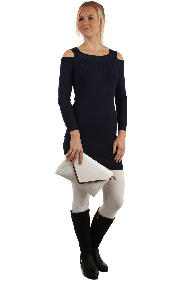 Long ladies sweater with bare shoulders
