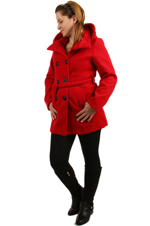 Women's fleece jacket with fur hood and collar, is also suitable for full-length. The hood can be removed. It is suitable for