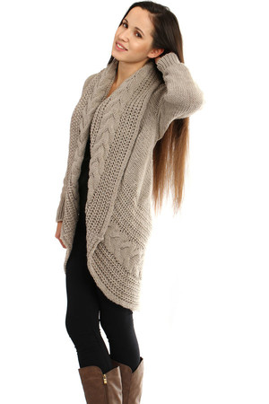 Women's knitted cardigan without fastening. Material : 75% acrylic, 25% polyamide Import : Italy