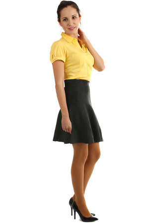 women's elegant knitted skirt, higher waist, A-cut. Colorless design without pattern. Midi length above knee. Material: