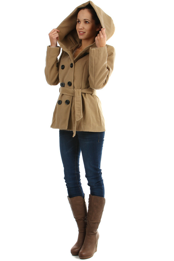 Women's short coat with large hood and belt