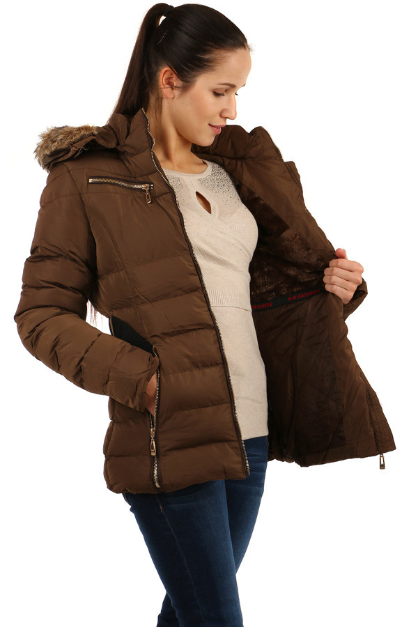 Winter women's jacket with belt and fur on the hood