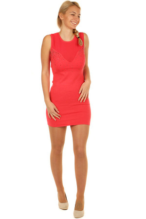 Knitted mini dress with translucent top. Material: 40% wool, 25% modal, 25% polyamide, 10% elastane