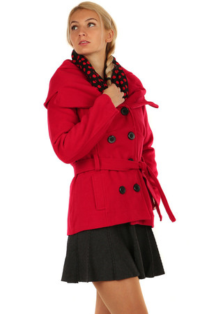 Short ladies coat with collar. Button fastening, with strap. Suitable for winter. Import: Italy Material: 60% polyester, 40%