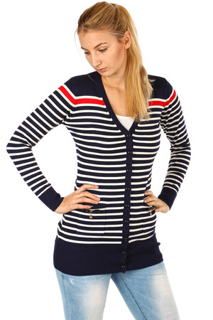 Striped lace sweater with bows on pockets. Material: 83% polynosic, 17% elastane.