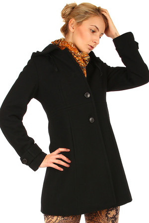 Women's elegant wool coat with removable hood. Button fastening. A-cut. Suitable for winter. Up to size XXXL. Material: