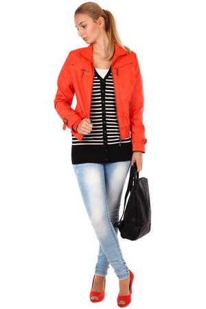Short women's zippered leather jacket. Knits on the hem and sleeves. Design without hood - with collar. suitable for