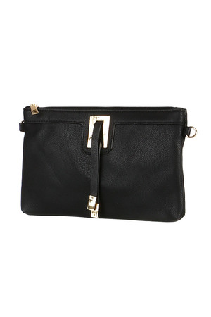 Rectangular clutch with application on the front. Zip fastening. Small zippered pocket inside. Small zippered pocket also on
