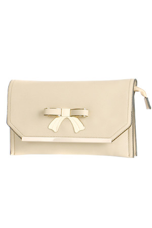 Beautiful rectangular clutch with ribbon and gold border. Also included is a loop and a long adjustable strap. Patent