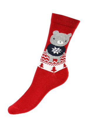 Higher cotton socks with cute motifs. Material: 90% cotton, 5% polyamide, 5% elastane.
