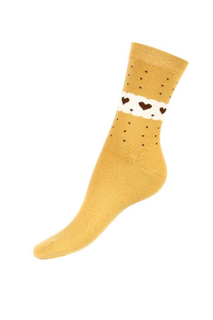 Higher socks with dots and hearts. Material: 90% cotton, 5% polyamide, 5% elastane.