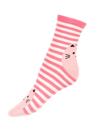 Higher striped socks with a cat on the toe and toe. Material: 90% cotton, 5% polyamide, 5% elastane.