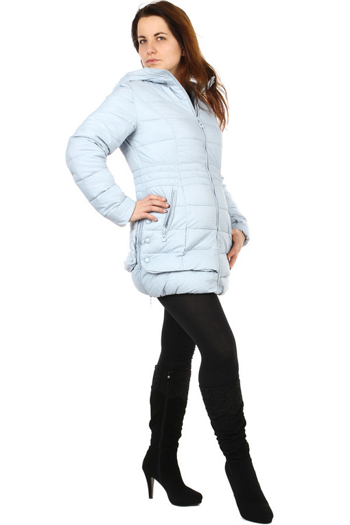 Women's quilted winter jacket with hood
