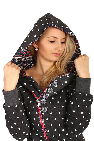 Long polka dot sweatshirt with asymmetric zipper. Different pattern inside the hood. Material: 65% cotton, 35% polyester.