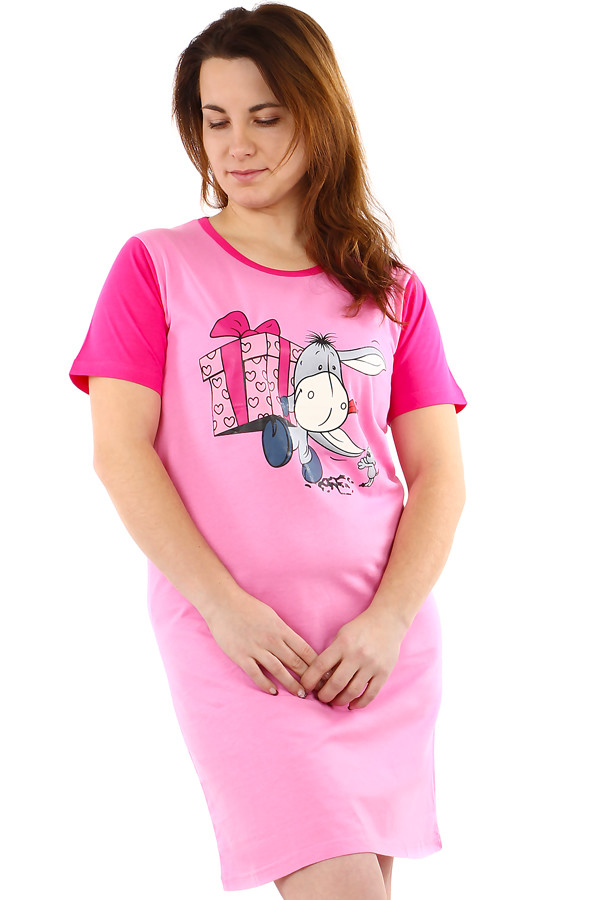 Two-color ladies cotton nightdress with donkey