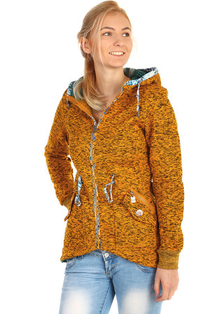 Insulated brindle zip sweatshirt. Distinctive pattern inside the hood. Material: 35% cotton, 65% polyester.