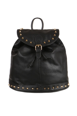 Women's leatherette backpack with golden studs. The main pocket is fastened to the patent. The backpack can also be
