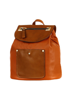 Women's retro leather backpack in many colors. The main pocket can be pulled out with a drawstring, it closes with a