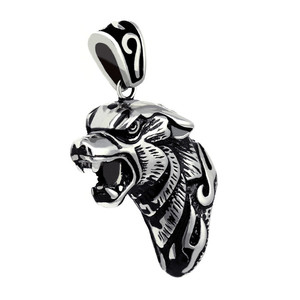 Steel wolf head pendant. Material stainless steel. Dimensions: height 3 cm, width 2 cm, thickness 1.2 cm.