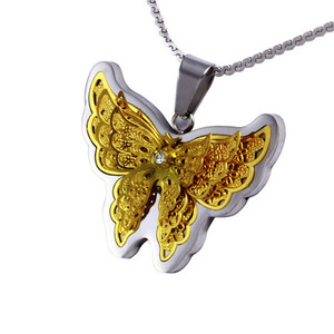 Yellow butterfly butterfly neck pendant. Material stainless steel. Dimensions: length 30 mm, width 37 mm.