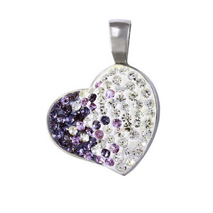 Steel necklace white heart with lilac rhinestones. Material surgical steel. Dimensions: length 30 mm, width 22 mm.