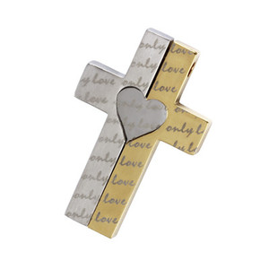 Steel pendant cross pendant with inscription only love. For lovers. Dimensions: length 39 mm, width 25 mm.
