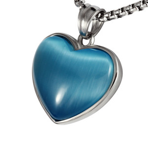 Necklace made of surgical steel blue heart. Dimensions: length 20 mm, width 24 mm.