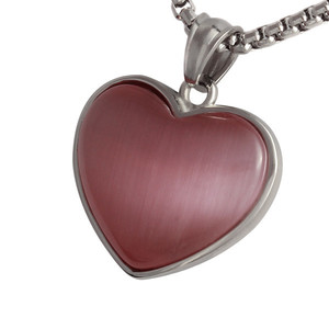 Pink heart surgical steel pendant. Dimensions: length 20 mm, width 24 mm.