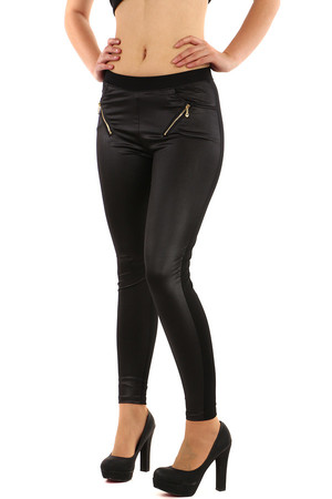 Black women's leggings with gold zippers. Shiny from the front side. Material: 52% cotton, 40% polyester, 8% elastane.