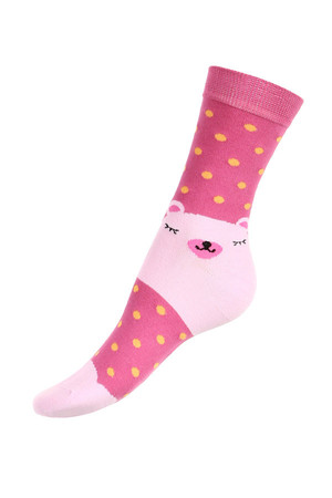 Women's polka dot socks with bear. Material: 85% cotton, 10% polyamide, 5% elastane.