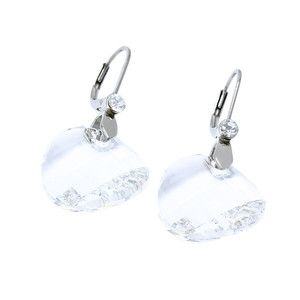 Women's surgical steel clip earrings with clear stone. Dimensions: 40 mm long, 20 mm ring diameter.